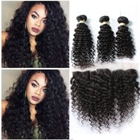 Wholesale Woven Baby - 8A Indian Deep Curly Hair With Lace Frontal Closure 4Pcs Lot Ear To Ear Lace Frontal With Baby Hair And Human Hair Bundles