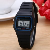 Wholesale Silicone Alarm - Silicone Led Watch alarm clock F-91W watches Men Women Child F-91W Sport watches luxury F91 thin multicolour LED Jelly watch Free ship