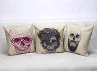 Wholesale Skull Seat Covers - DHL&SF EXPRESS Halloween Style Home Seat Back Pillowcase Skull Pattern Cotton&Linen Throw Pillow Case Car Room Office Back Cushion Cover