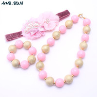 Wholesale silver toddler headband for sale - Newest Gold Pink Color Design Necklace Bracelet Headband Jewelry Set Toddlers Girls Bubblegum Baby Kids Chunky Necklace Jewelry Set