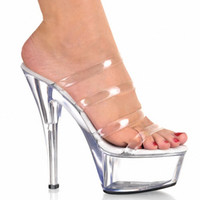 Wholesale Sexy High Strappy Sandals - HOT Fashion 6 Inch Stiletto High Heel Shoes With 2 Inch Clear Platforms Strappy Sexy Shoes 15cm High Heels Crystal Sandals