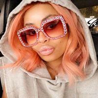 Wholesale Royal Pc - ROYAL GIRL Fashion Luxury Crystal Rim Women Sunglasses Retro Brand Designer Square Frame Oversize Sun Glasses oculos gafas ss310