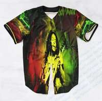Wholesale Baseball Custom T Shirts - Real USA SIZE Custom made Fashion 3D Sublimaiton Print Bob Marley Unisex Baseball t-shirt Plus Size 3XL 4XL 5XL 6XL