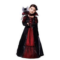 Wholesale Costumes Queens Dress - 2016 New Girls Evil Queen Dress sets Holloween Cosplay costume two-piece sets necklace+dress Vampiress clothing for girls new years Xmas