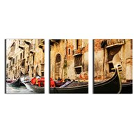 Wholesale Wall Scenery Pictures - 3 Panel Wall Art Painting on Canvas Oil Painting Famous Painting Collection For Living Room Venice Scenery Picture Print Home Decorations