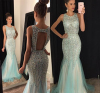 Wholesale Pageant Dress Girls Size 16 - Major Beading Girls Pageant Dresses Hollow Back Crystals Sequins Mermaid Evening Gowns Jewel Tulle Sweep Train Sparkline Prom Dress