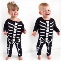 Wholesale Girls Skull Romper - Halloween Baby Boy Girl Romper Clothes For Skull Bones Pattern Jumpsuit 2016 New Autumn Newborn Infant One Piece Clothing Kid Costume 0-2T