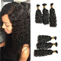 Wholesale human hair for braiding 24 inch resale online - Human Hair Bulk Indian Water Wave Bundles Hair Extensions Natural Color g Bundle for Braiding FDSHINE