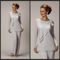 Wholesale Silver Dresses For Groom Mother - 2016 Two Pieces Mother Of The Bride Pants Suit For Weddings Cheap Chiffon Mother's Groom Pantsuits Long Sleeve Mothers Formal Wear