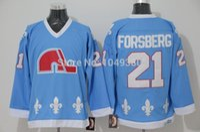 Wholesale Vintage Stop Light - Wholesale Men's Sportswear Quebec Nordiques #21 Peter Forsberg Jersey Light Blue Cheap CCM Vintage Hockey Jerseys SizeS S-XXXL