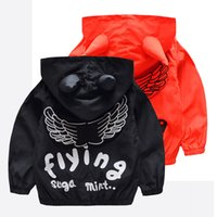 Wholesale Girls Wing Jacket - Boys girl INS Angel wings Hoodies Sweatshirts children cartoon devil horns Long sleeve zipper Hoodie jacket kids coat B001
