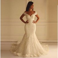 Wholesale train empire - 2018 Cap Sleeve V-neck Lace Mermaid Wedding Dresses Chapel Train Zipper Back Tulle Bridal Wedding Gowns
