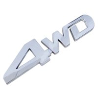 Wholesale Bmw Chrome Wheels - Wholesale New Car Tail Sticker 3D Chrome 4WD Logo Displacement Emblem Badge All Wheel Drive Car Styling Decal for Ford Toyota VW BMW Honda