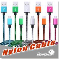 кабель usb нейлон оптовых-USB для типа C Micro USB кабель 3ft нейлон плетеный USB 2.0 мужчина к Micro B синхронизации данных быстрая зарядка зарядное устройство шнур для Android Samsung S8 Sony LG
