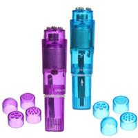 Wholesale Body Rocket - Toys for Women 4 Interchangeable Tips Waterproof Mini Full Body Massager Relieve Stress Travel Pocket Rocket Vibrator