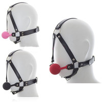 Wholesale Sex Mask Gag Ball - Sex Products Leather Mask Harness With Silicone Ball Gag Harness Fetish Bondage Sex Mask Adult Erotic Toys For Couple