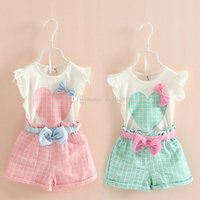 Wholesale Loving Heart Suit - 2016 Girls Love Heart top sleeveless vest+plaid Short pants bow suit baby clothes 2 color C1060
