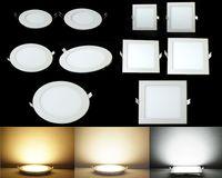 12w conduziu downlights de fixação venda por atacado-Led Para Baixo Luzes Do Painel de Luzes 3 W 6 W 9 W 12 W 15 W 18 W 24 W Led Luzes Embutidas Luminária Downlights Downlight Teto Quente / Cool / Natural Branco # 25