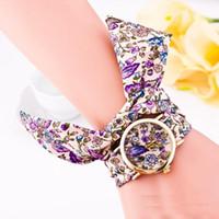 relojes suizos al por mayor-5 Estilos Geneva Ladies reloj de pulsera de tela de flores de las mujeres de moda vestido de reloj reloj de tela de alta calidad dulce niñas reloj pulsera