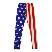 Wholesale leggings metallic - Fashion Big Girls Leggings USA Flag Patriotic Leggings Bodybuilding Sexy Girl Leggings Pants 5 p l