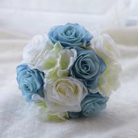 ingrosso bouquet di fiori artificiali arancione-Mazzi di nozze artificiali 16cm * 28cm mazzi di damigella d'onore di alta qualità rose arancioni che tengono i fiori per le spose bella bouquet da sposa