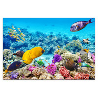 Wholesale painted paradise - 1 Piece HD Printed Undersea World Paradise of Fish Canvas Art Colorful Fish and Coral Wall Picture for Living Room Bedroom SJMT1911