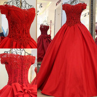 Wholesale Big Ball Wedding Dresses - Gorgeous Red Beading Ball Gown Wedding Dresses 2017 Off Shoulder Bodice Lace Up Bridal Gowns Custom Made Wedding Dresses With Big Bow