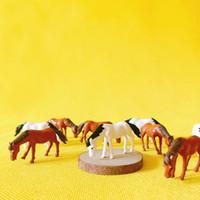 Wholesale Horse House - sale~10Pcs white and brown horses doll house  miniatures lovely cute fairy garden gnome moss terrarium decor crafts bonsai  DIY