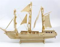 Wholesale 3d Cardboard Model Puzzles - 3D Puzzle Clever Paper Caravel 3D Puzzle Cardboard Ship Construction Set Umbum Navigation Class Wooden Simulation Model