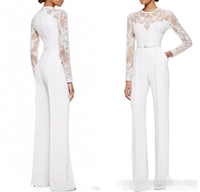 Wholesale Elie Saab Dress Bride - 2017 new White Elie Saab Mother Of The Bride Pant Suits Jumpsuit With Long Sleeves Lace Embellished Women Formal Evening Wear Custom Made