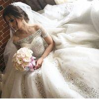 Wholesale short wedding dress sweetheart neckline for sale - 2017 Crystal Ball Gown Wedding Dresses Off the shoulder Sheer Tulle Neckline over Sweetheart Neckline Short Sleeves Tulle Bridal Gowns