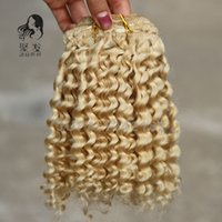 Wholesale Clip 12 613 - Malaysian Virgin Hair #613 Bleach Blonde Malaysian Kinky Curly Clip Ins Hair 7A Unprocessed African American Clip In Human Hair Extension