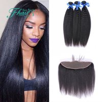 Wholesale best kinky straight hair weave for sale - Group buy 8A Best Indian Kinky Straight With Lace Frontal Cheap Unprocessed Human Hair Coarse Yaki Hair With x4 Lace Frontal