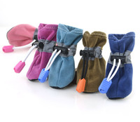 Wholesale Shoes Sport Extra Large - Autumn Winter Double Warm Anti Slip Rubber Sole Sport Dog Boot Large Dogs Pet Shoes 7 Colors 20sets lot Free Shipping