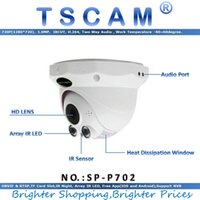 Wholesale Ir Dome Camera Audio - TSCAM new SP-P702 ONVIF HD 720P 1.0MP Dome IP Camera with P2P SD Card Slot Two Way Audio Array IR Night Vision