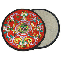 Wholesale chinese cotton padded - Unique Round Embroidered Cotton Cloth 2 Coaster Set Chinese style Coffee Table Cup Mat Decorative Protective Pad 10 sets lot