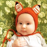 Wholesale crochet fox hat resale online - Baby kid Fox knt hat Beanies Ears Hnad made Lovely String Ears protection Winter warm Crochet hat Orange New