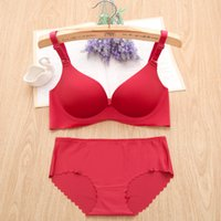 online shopping One Piece Bras Ruffles - Wholesale-2016 New Sexy Seamless Bra Brief Sets Women Girl Brassiere 32A B 38C Cup One-piece Push Up Wine Red Bra 3 4 Cup Lingerie Set