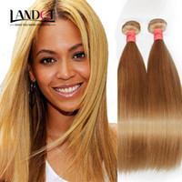 düz sarışın hint telafuz saçları toptan satış-Brezilyalı Bakire Saç Düz ÜST Bal Sarışın Renk 27 # Perulu Hint Malezya Kamboçyalı Remy İnsan Saç Dokuma Uzantıları 3/4 Demetleri