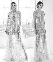 Wholesale Shawls Wave - heavily embellished shawl sexy illusion short sleeves wedding dresses 2018 zuhair murad bridal bateau neckline wedding gowns