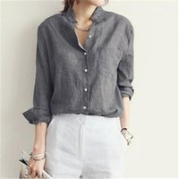 Wholesale Khaki Lace Long Sleeve Top - Sexy V Neck Womens Blouses 2018 Spring Autumn Casual Long Sleeve Solid Pockets Cotton Tops Shirts Plus Size Blusas