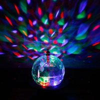 Wholesale Move Magic - Mini Rotating LED RGB Stage Light Moving Head Crystal Magic Ball Effect Light Disco DJ Party Stage Lighting Free Shipping