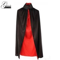 Wholesale Halloween Dress Witch - Halloween Capes Witch Costume Cosplay Hooded Cape Adult Maxi Long Vampire Cloak Dracula Black Party Dress Stage Costume Dead Man Walking