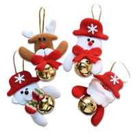 Cloth outdoor christmas deer decorations - 4pcs Lovely Party Supplies Christmas Tree Ornaments Santa Claus Snowman Deer Small Bell Christmas Children Gift Outdoor Decoration SD94