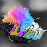 plumas de pelusa al por mayor-Máscara de pelusa ligera máscara de polvo de oro Máscara de princesa Mascarada de plumas juguetes encantadores para niños