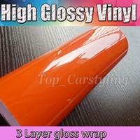 carteles de vinilo adhesivo al por mayor-Vinilo adhesivo de vinilo permanente ultra brillante de 3 capas de color naranja para cortadores artesanales Cortadores de letreros de vinilo sin burbujas Tamaño: 1.52x20m / roll