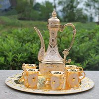 Wholesale Pot Cups - Free shipping gold color metal wine set tea set,fashion zinc alloy wine set, 1 set= 1 plate+ 1 pot +6 cups