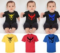 Wholesale Kid Clothing Logo - Kids Poke Go Logo Summer T Shirt 3 Designs 4 Colors cartoon Short Sleeve Clothes Cartoon Poke Mon Go Cotton Baby Clothing