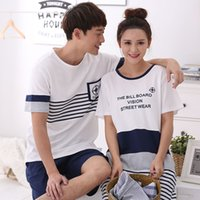 Wholesale Quality Letter Service - Wholesale-High quality 100% Cotton Male Or Female Short-sleeve Sleepwear Lovers Short Lounge set Pyjamas Leisurewear at home service