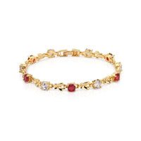 Wholesale Moon Shaped Beads - Kingly Womens 18k Yellow Gold Plated Ruby and Clear Cubic Zirconia Crescent Moon Shape Tennis Bracelet Free Shipping